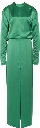 Cédric Charlier Draped Open Back Satin Gown