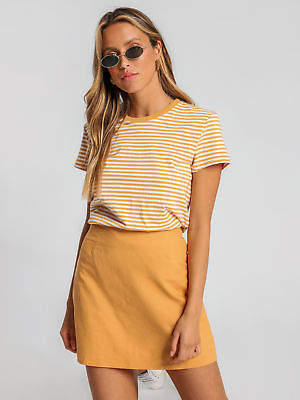 Nude Lucy New Womens Gracie Ringer Update T Shirt In Golden Glow White Stripe