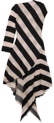 Marques Almeida Marques' Almeida - Asymmetric Striped Cotton And Silk-blend Gauze Dress - Black