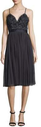 Needle & Thread Midnight-Lace Sleeveless Midi Cocktail Dress