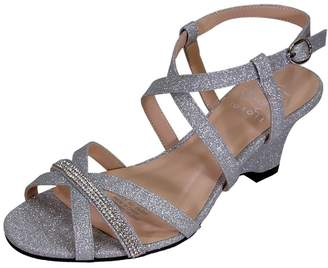 3d0d29d12a8e39 Floral Joanne Women Extra Wide Width Chic Rhinestone Strappy Wedge Party Heeled  Sandals 8