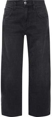 Current/Elliott - The Barrel Crop High-rise Wide-leg Jeans - Black $260 thestylecure.com
