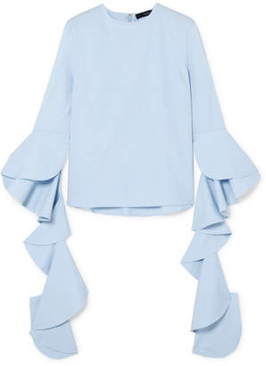 Ellery Emmeline Ruffled Cotton-poplin Top - Light blue
