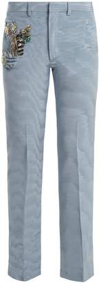 Toga Embellished straight-leg silk-blend trousers