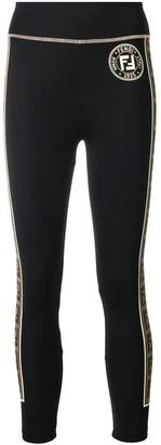 Fendi logo side-stripe leggings