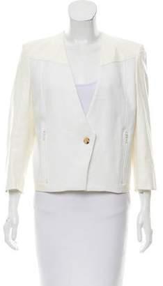 Helmut Lang Leather-Accented V-Neck Jacket