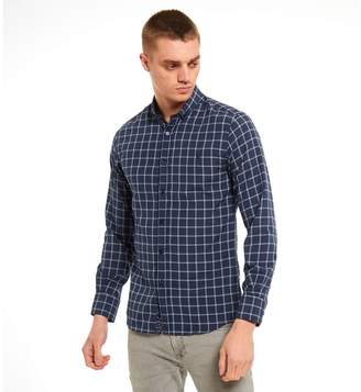 Buttoned Down SWADE - Big And Tall Navy Check Long Sleeve Shirt