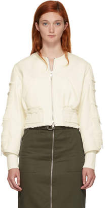 3.1 Phillip Lim Off-White Gathered Sleeve Bomber Jacket