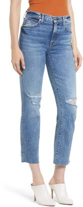 7 For All Mankind Edie Ripped High Waist Crop Straight Leg Jeans