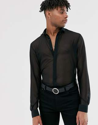 Twisted Tailor skinny mesh shirt in black