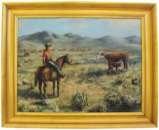 One Kings Lane Vintage Sandy Pearce - Cowboy & Cattle Painting Art