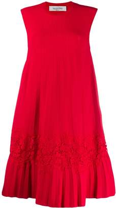 Valentino lace panel pleated dress