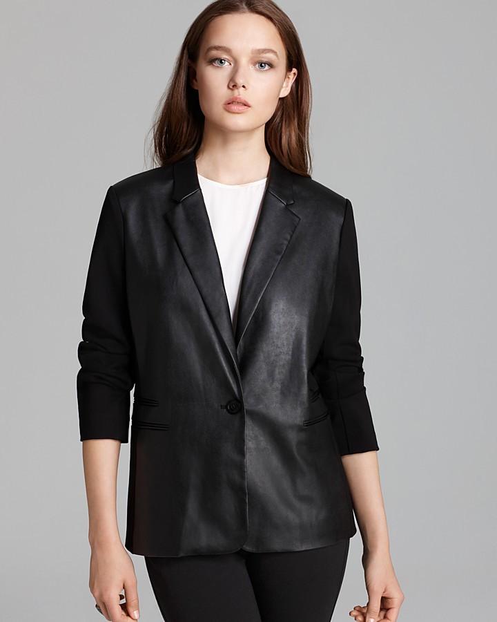 MICHAEL Michael Kors Ponte Faux Leather Blazer