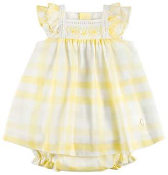 Carrera Pili Gingham Ruffle-Sleeve Dress w/ Bloomers, Yellow, Size 12M-3Y