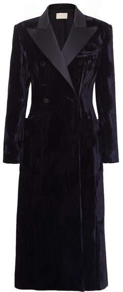 Double-breasted Satin-trimmed Crushed-velvet Coat - Black