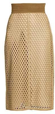Fendi Women's Leather Mesh Pencil Skirt