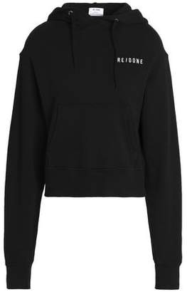 RE/DONE Embroidered French Cotton-Terry Hooded Sweatshirt