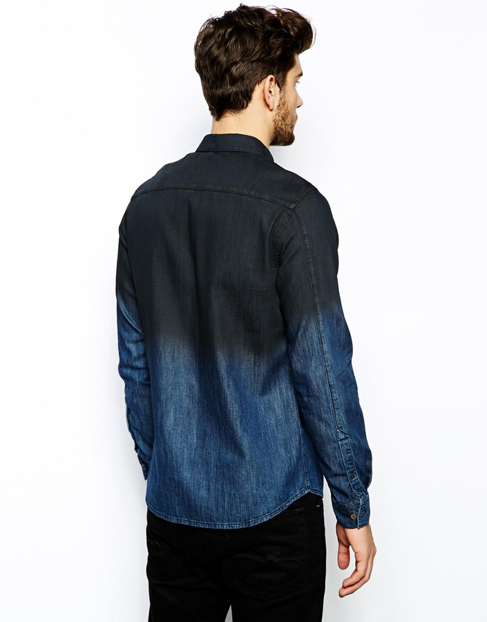 Asos Denim Shirt In Long Sleeve With Dip Dye
