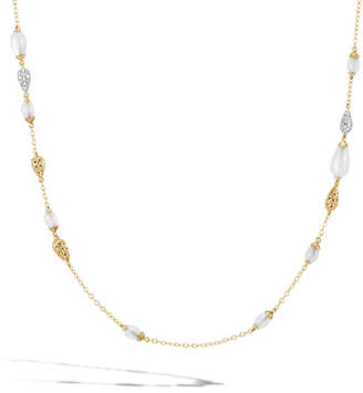John Hardy 18k Classic Chain Necklace w/ Diamond & Moonstone Droplets, 36""