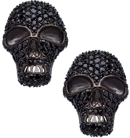 Vivian Jacob Gunmetal and Black CZ Skull Earrings