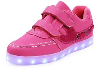 sexphd Boys Girls Light up Casual Shoes Flashing Double Velcro LED Sneakers with 11 Colors for Kids (£