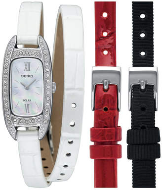 Seiko Women Solar White Leather Wrap Strap Watch 16.5mm with Interchangeable Straps