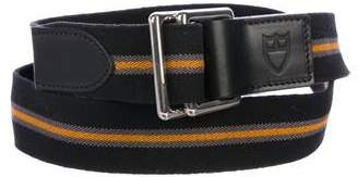 Tudor Leather-Trimmed Striped Surplus Belt