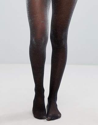 Asos Design DESIGN metallic sheer tights in silver