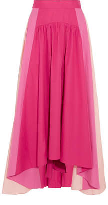 Peter Pilotto Asymmetric Color-block Cotton-poplin Midi Skirt - Fuchsia