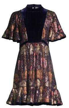 Rebecca Taylor Floral Silk Velvet Dress