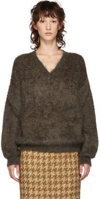 Miu Miu Brown Mohair V-Neck Sweater