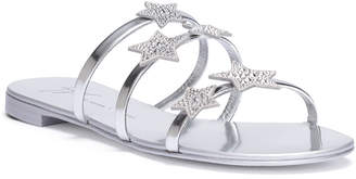 Giuseppe Zanotti Hamony Star silver leather flat sandals