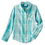 Girls 4-10 Jumping Beans® Long Sleeve Sparkle Button-Front Shirt $20 thestylecure.com