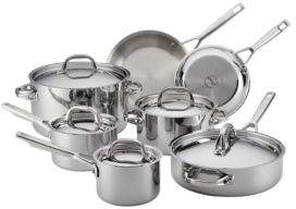 Anolon 12-Piece Tri-Ply Clad Stainless Steel Cookware Set