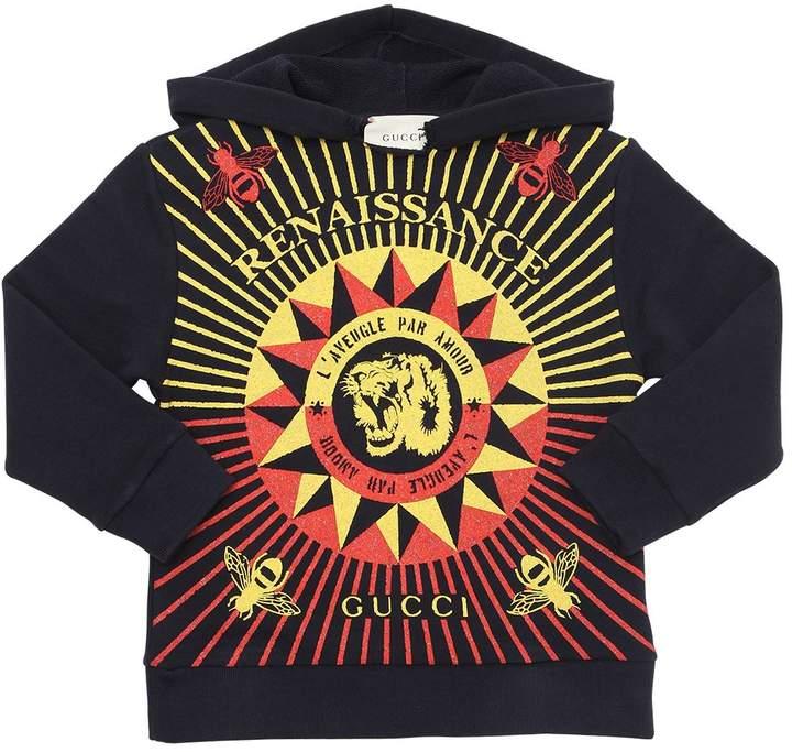 Hooded Tiger Print Cotton Sweatshirt