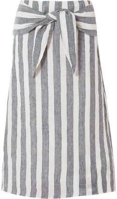 J.Crew Shipwreck Striped Linen Midi Skirt - Blue