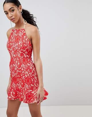 Missguided Lace Frill Hem Dress