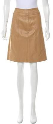 KORS Leather Knee-Length Skirt