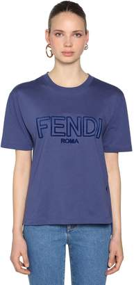 Fendi Oversize Logo Embroidered Jersey T-Shirt