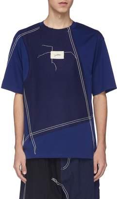 Indice Studio Contrast topstitching knit panel T-shirt