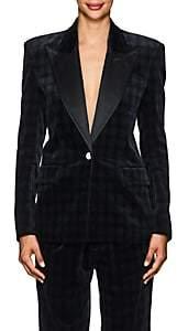 Faith Connexion Women's Plaid Velvety Cotton Boxy One-Button Blazer-Black