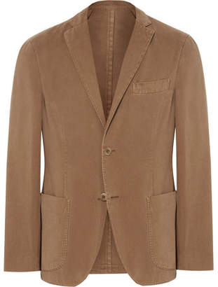 Incotex Tan Slim-Fit Unstructured Cotton And Cashmere-Blend Twill Blazer