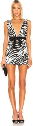 Brognano BROGNANO Plunging Zebra Mini Dress in Black & White | FWRD