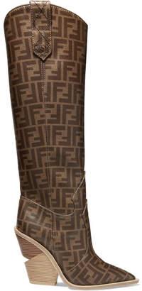 Fendi Logo-print Coated-canvas Knee Boots