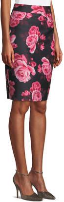 Kate Spade rambling roses rosa printed pencil skirt