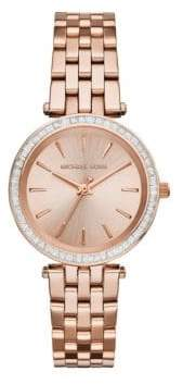 Michael Kors Mini Darci Pave Rose Goldtone Stainless Steel Bracelet Watch