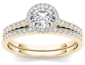 Imperial Diamond Imperial 1 Carat T.W. Diamond Single Halo 14kt Yellow Gold Engagement Ring Set