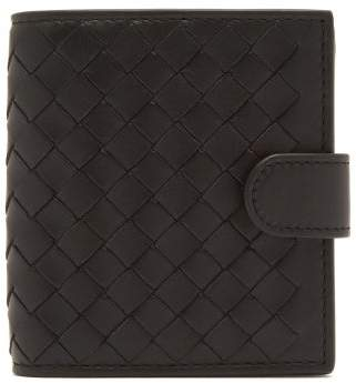 Bottega Veneta Intrecciato Bi Fold Leather Wallet - Womens - Black