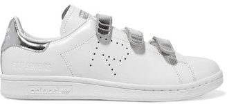 Adidas Originals - + Raf Simons Stan Smith Comfort Perforated Metallic-trimmed Leather Sneakers - White $415 thestylecure.com