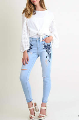 Umgee USA Embroidered-Distressed Skinny Jean